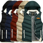 Mens Sleeveless Winter Vest Waistcoat Jacket Warm Padded Outerwear Hooded Coat .