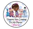 """1.5"""", 2"""", 2.5"""" DOC MCSTUFFINS BIRTHDAY PERSONALIZED ROUND PARTY STICKERS FAVORS"""