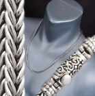 ARTISAN WOVEN BRAIDED SNAKE 925 STERLING SILVER MENS NECKLACE CHAIN 20 22 24 26