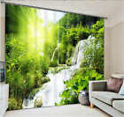 Shrubbery Waterfall 3D Blockout Photo Mural Printing Curtain Draps Fabric Window