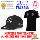*2017 PACKAGE* MERCEDES AMG F1 TEAM T SHIRT & MERCEDES PETRONAS TEAM CAP HAT