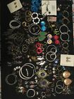 Vintage to Now Lot of 80 pairs of pierced earrings Rhinestones Brass Glass Metal