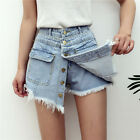 Cool Women Girl Mini Jeans Fake 2 Skirt Style Shorts Pants Trousers High Waist