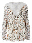 WOMENS PLUS SIZE NEW IVORY CREAM FLORAL LACE TRIM CHIFFON Blouse TUNIC TOP SHIRT
