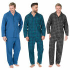Mens Plus Size Woven Pajama Set Shirt Trousers Nightwear Big Tall Stripe Check