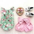Adorable Toddler Baby Girls Floral Tops Romper Shorts Outfits 2Pcs Set Clothes