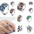 Fashion Rings Flower Jewelry Crystal Finger Ring Women Slivery Size6/7/8/9/10