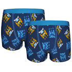Manchester City FC Official Football Gift 2 Pack Boys Crest Boxer Shorts