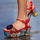 lady  Ethnic Summer Boho Red Colorful Floral POM Ball Chunky Heel scrawl Shoes