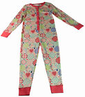 Girls All in One Pyjamas Nightwear Cotton Pink Patchwork Size Ages 3-4Y 5-6Y