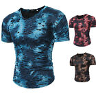 Mens Hole T-Shirt Muscle Camo Camouflage Tee Bodybuilding Sport Fitness Gym IY