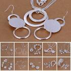 Sweet 925 Sterling Silver Plated Chain Bracelet Earring Necklace Jewelry Set