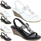 LADIES WEDGE SANDALS WOMENS HEELS NEW FANCY SUMMER DRESS PARTY BEACH GIRLS SHOES