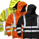 Hi Viz Hoody Mens Work Safety Hooded Sweatshirt Hoodie Security GO/RT Railway