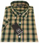 Relco Men's Green Yellow Checked Short Sleeved  Button Down Shirt Skins Mod