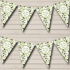 Olive Green Butterfly Personalised Shabby Chic Garden Tea Party Bunting Banner