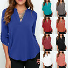 Fashion Women Casual V-Neck Long Sleeve Chiffon T Shirt Summer Loose Tops Blouse