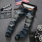 Original design new men's jeans retro stitching fashion hole jeans pants