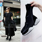 New Womens Chic slouch strachy mid calf boots flats suede shoe Black Walking sz