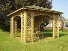 10ft x 10ft (Ex 12ft x 12ft) GARDEN WOODEN GAZEBO WITH OPTIONAL SHINGLES ARCHED