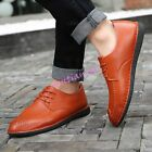 Mens Flat Loafers Shoes Round Toe Lace Up Leather Driving Moccasins Casual Chic