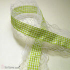 Lace Trim 40mm Wide with 15mm Gingham Ribbon Sewing Costume Crafts DIY 3 Colours