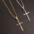 Shiny 18K/ct White Gold /Gold PL Simple Plain Cross Pendant Chain Necklace Gift