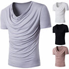 Summer Men's V Neck Tops Tee Shirt Slim Fit Short Sleeve Casual T-Shirt Blouse