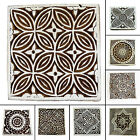 Printing Hand Carved Wooden Textile Stamp Floral Pattern Block Print 2 x 2