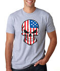 AMERICAN FLAG SKULL skeleton Father's Day 4th of July stars punisher T-Shirt