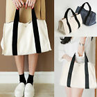 Korea Fashion Women Garden Party Tote Bag Cotton Ivory Navy Travel Picnic Beach