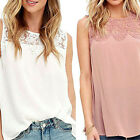 Sizes Womens Sleeveless Shirt Casual Lace Blouse Ladies Loose Tops T Shirt US