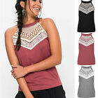 UK Womens Sleeveless Lace Vest T-Shirt Ladies Summer Beach Tank Tops Blouse 6-18