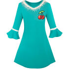 Girls Dress Lotus Leaf Sleeve Cherry Embroidery Everyday Size 3-10 US Seller