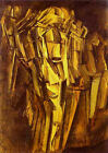 Classic French Abstract Painting: Sad Young Man in a Train by Duchamp
