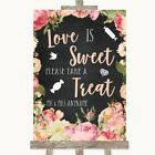 Chalkboard Style Pink Roses Love Is Sweet Take A Treat Candy Buffet Wedding Sign
