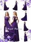 UK Cadbury Purple Lace Chiffon Long Maxi Evening Wedding Bridesmaid Prom Dress