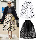 Tulle See-through Pleated Midi Full 50's Skirt Puffy Monochrome Polka Dot Retro