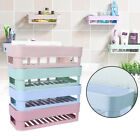 Plastic Kitchen Bathroom Shower Shelf Storage Basket Caddy Rack with Stick Tape