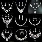 Fashion Rhinestone Necklace Earrings Set Crystal Women Wedding Jewelry Tasteful