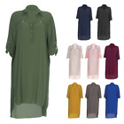Womens Ladies Summer Midi Shirt Dress Top Modesty Maxi Casual Short Abaya