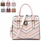 Ladies Designer Faux Leather Two Tone Padlock Style Handbag Shoulder Bag MA34865