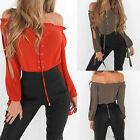 UK Womens Off Shoulder Cut Out Sleeve Lace Up T-Shirt Ladies Summer Tops Blouse