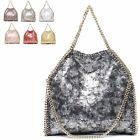 Ladies Metallic Faux Leather Woven Chain Style Handbag Shoulder Bag Tote MA34828