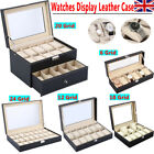6 10 12 20 24 Grid Faux Leather Watch Storage Organiser Case Display Box Black