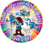 SMURFS PERSONALISED GLOSS BIRTHDAY PARTY BAG, SWEET CONE STICKERS