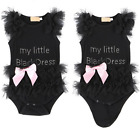 Kids Baby Girls Embroidered My Little Black Dress Bodysuit Romper Jumpsuit 0-24M