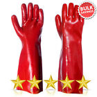 "Red PVC Rubber Coated Work Glove 16"" Long Arm Heavy Duty Safety Gauntlet"