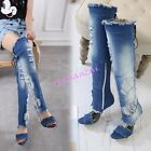 Womens Open Toe Ripped Hole Denim Over Knee Boot High Block Heel Shoes Cut Out
