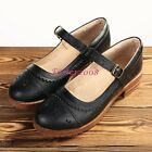 New Vintage Women's Leather Flats Brogue Mary Janes Buckle Low Heel Casual Shoes